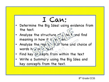 We The People Common Core Unit Lesson with I CAN Statements