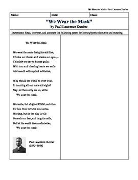 """""""We Wear the Mask"""" by Paul Laurence Dunbar: Quick Picture Analysis"""