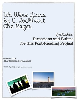 We Were Liars e. lockhart One Pager Project