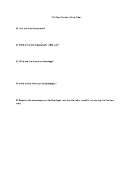 We Were Soldiers Movie Question Sheet