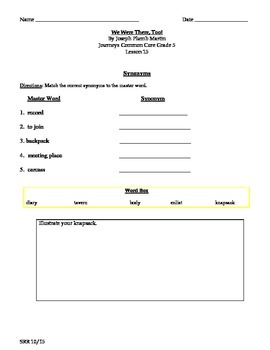 Journeys Common Core 5th - We Were There Too! Supplemental Packet for the SLP