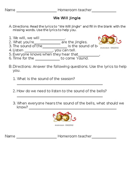 We Will Jingle worksheets