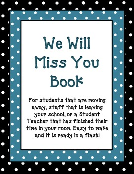 We Will Miss You Book Freebie