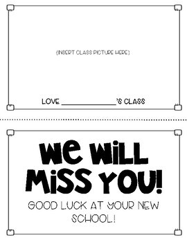 We Will Miss You Class Booklet