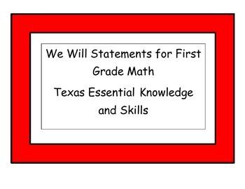 We Will Statements First Grade Math