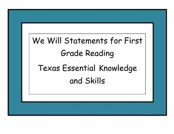 We Will Statements First Grade Reading