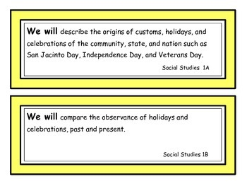We Will Statements First Grade Social Studies