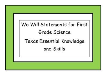 We Will Statements for First Grade Science