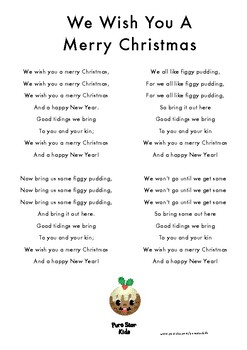 We Wish You A Merry Christmas - Christmas Song Sheet Lyrics by Pure Star Kids