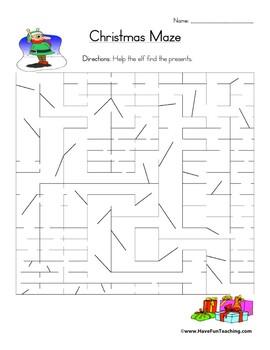 Christmas Maze Worksheet