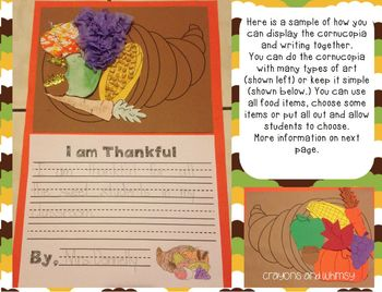 We are Thankful Cornucopia Craft and Emergent Reader