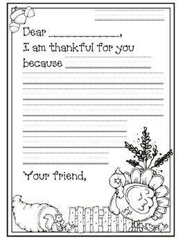 We are Thankful (Letter Writing)