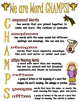 We are Word CHAMPS! (Word Relationships Poster)