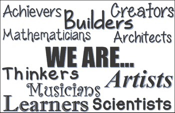 """""""We are"""" classroom poster in black and white"""