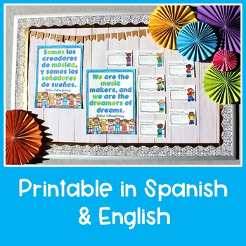 We are the Music Makers, Spanish & English Bulletin Board Activity