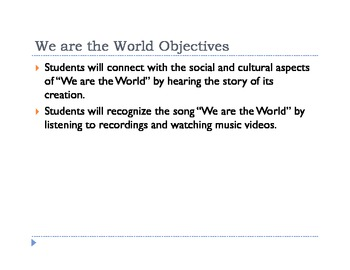 We are the World Lesson Plan