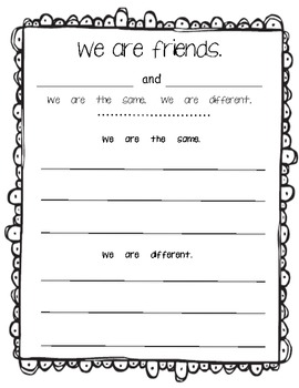 We are the same. We are Different. Writing Response FREEBIE