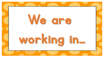 We are working in..