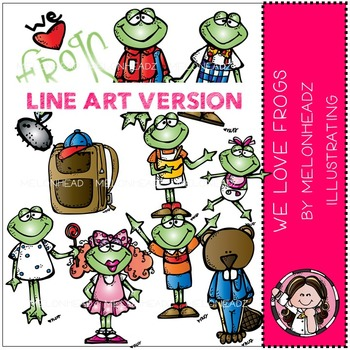 We love frogs clip art - LINE ART - by Melonheadz
