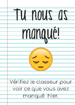 We missed you! sign (FRENCH)
