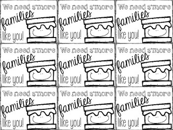 """""""We need S'more families (and writers) like you!"""" labels"""