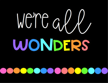 Wonder - We're All Wonders Classroom Banner or Poster #ausbts18