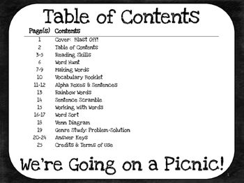 We're Going on a Picnic!  1st Grade Harcourt Storytown Lesson 22