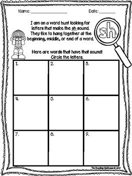 Digraphs Scavenger Hunt Activity -  ch,sh,th,kn,wh, and more