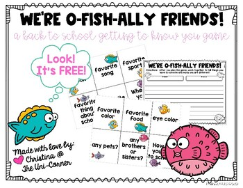 We're O-FISH-ALLY Friends!  A FREE Back to School Get to Know You Game!