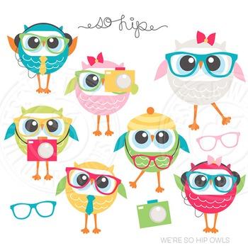We're So Hip Owls Cute Digital Clipart, Hipster Clip Art