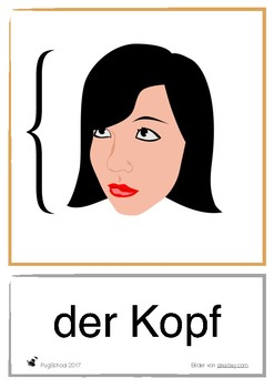 We're learning german - flash cards - Body and feelings, color and clothes