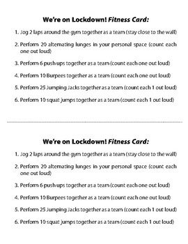 We're on Lockdown Non-stop Fitness & Teamwork Game w/ Scenario