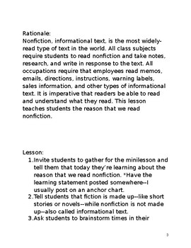 We read nonfiction to learn something minilesson with lesson plan