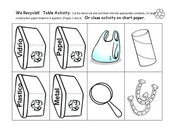 WE RECYCLE!! Activity and Center - Spanish