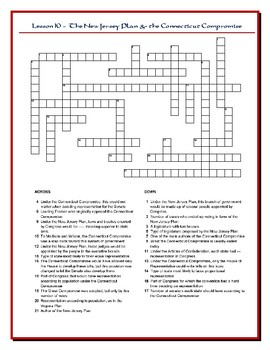 We the People Lesson 10 Worksheet Puzzles: Constitutional Compromises