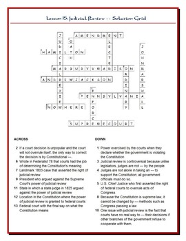 We the People Lesson 15 Worksheet Puzzles: Amendments and Judicial Review