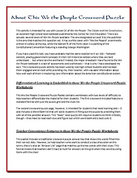 We the People Lesson 16 Worksheet Puzzle: Political Parties