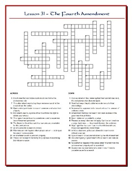 We the People Lesson 31 Worksheet Puzzles: 4th and 5th Amendments