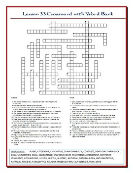 We the People Lesson 33 Worksheet Puzzle: Citizenship