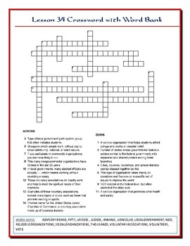 We the People Lesson 34 Worksheet Puzzle: Civic Engagement