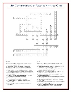 We the People Lesson 36 Worksheet Puzzles: Influence of American Government