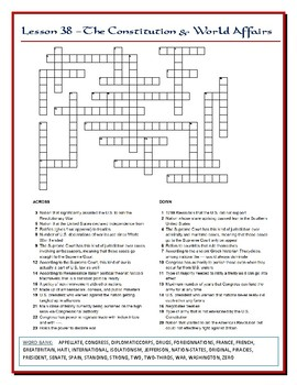 We the People Lesson 38 Worksheet Puzzles: International Law and World Affairs
