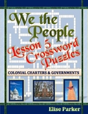 We the People Lesson 5 Worksheet Puzzles: Colonial Charters & Governments