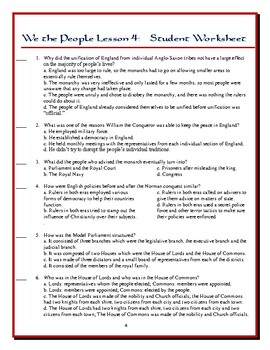 We the People: The Citizen and the Constitution Lesson 4 Worksheet ...