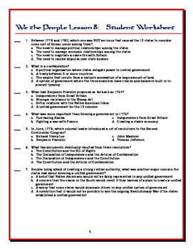 We the People: The Citizen and the Constitution Lesson 8 Worksheets / Tests