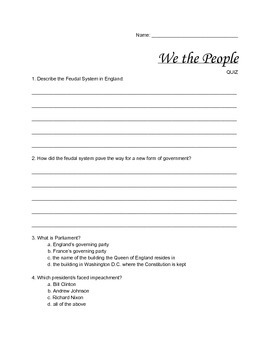 """""""We the People"""" (government) - QUIZ"""