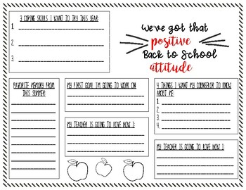 We've Got that Positive Attitude Worksheet