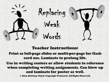 Weak Strong Words Parts of Speech Adjectives Nouns Verbs