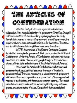 Weaknesses in The Articles of Confederation (Federal vs ...