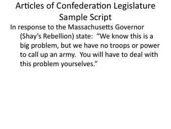 Weaknesses of the Articles of Confederation Role Play